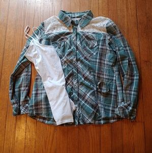 Maurices Lacey Plaid Button Up